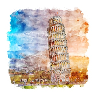 Illustrazione disegnata a mano di schizzo dell'acquerello di pisa torre italia di tramonto