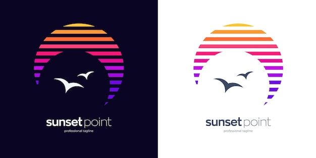 Design del logo del punto del tramonto