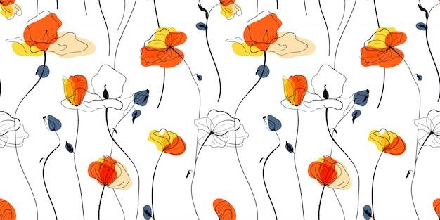 Modello senza cuciture di campo di papaveri al tramonto in stile scandinavo
