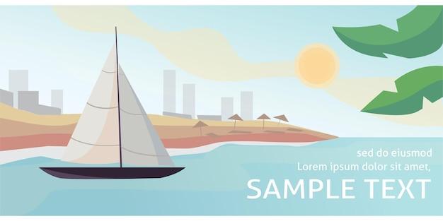 Tramonto in mare con illustrazione vettoriale di yacht