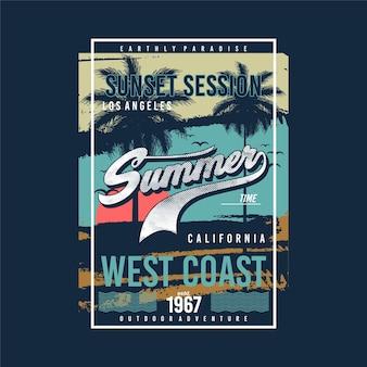 Sunset session long beach california grafica tipografia t shirt vettori summer