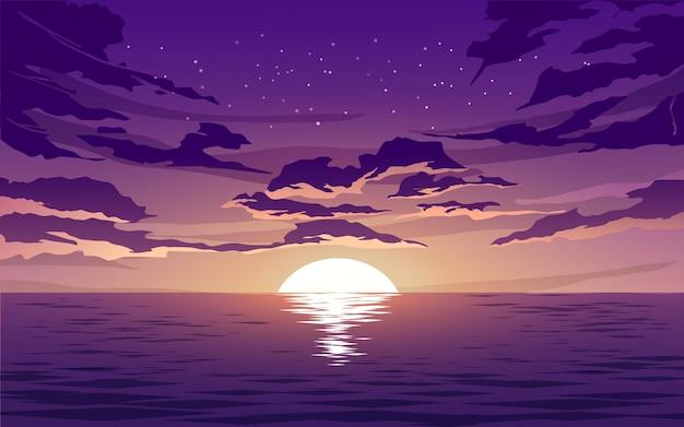 Cielo al tramonto e nuvole sopra l'oceano