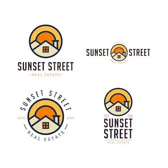 Sunset street real estate logo template