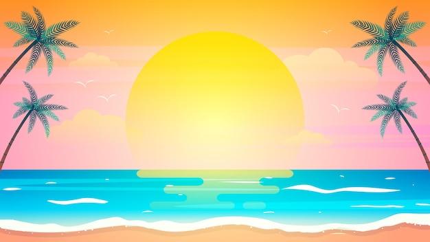 Tramonto sull'illustrazione della priorità bassa della spiaggia di estate