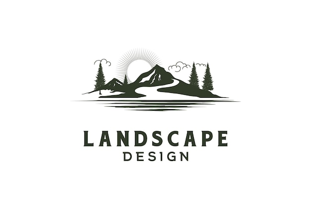 Sunset sunrise mountain hill pineta con river creek lake landscape view logo design vector