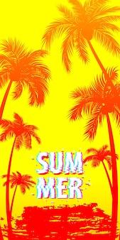 Tramonto alba tropicale palme albero con foglie paradiso di viaggio su sfondo giallo
