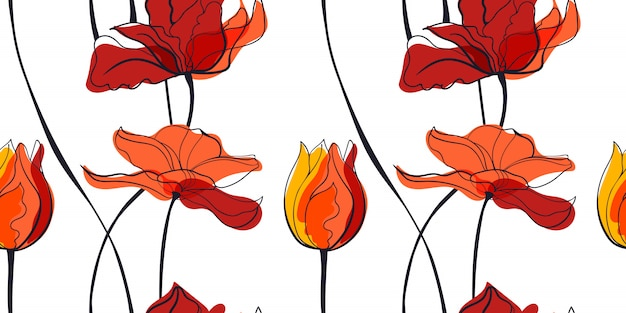Modello senza cuciture del campo del tulipano di tramonto nello stile scandinavo