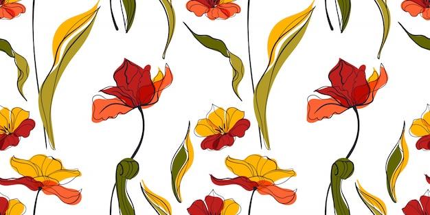 Modello senza cuciture di tramonto tulipano prato