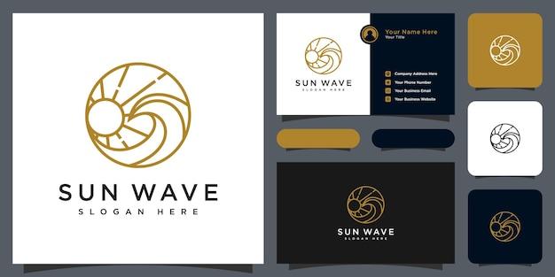 Modello di progettazione del logo dell'onda al tramonto e biglietto da visita