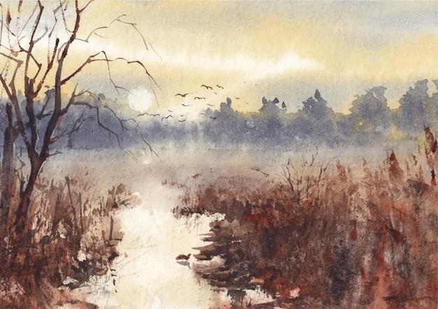 Tramonto con la natura pittura di paesaggio ad acquerello
