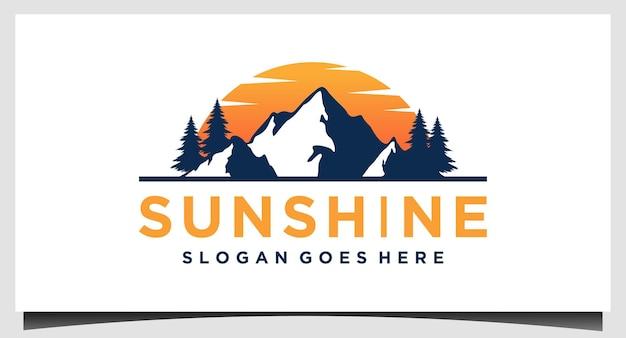 Modello di progettazione del logo della montagna del sole