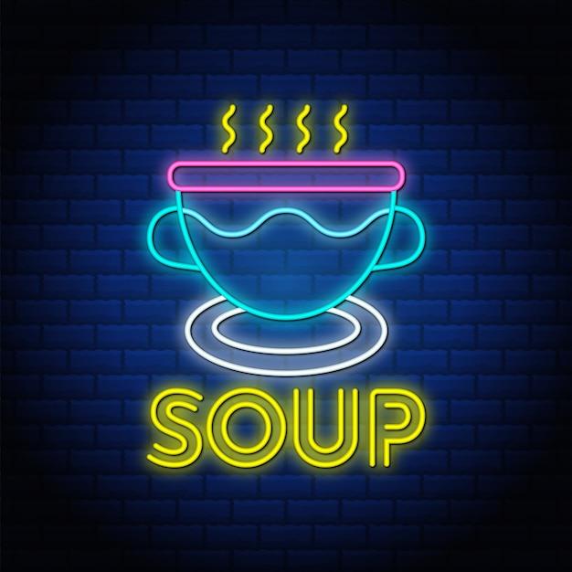 Design di testo in stile insegna al neon sup nel muro di mattoni blu.