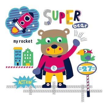 Super orso in città divertente cartone animato animale