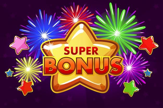 Banner super bonus per il gioco dell'interfaccia utente. stelle cadenti colorate