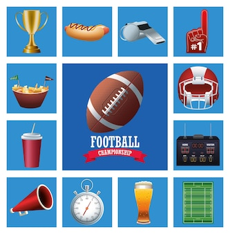 Super bowl american football sport lettering con palla e set di icone illustrazione