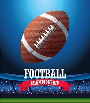 Iscrizione di sport di football americano del super bowl con palloncino nell'illustrazione della scena dello stadio