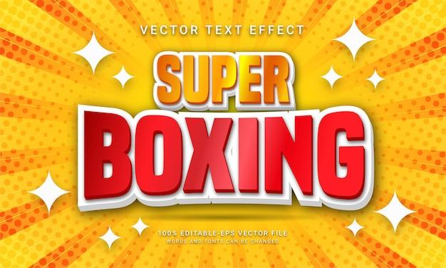 Effetto di testo modificabile super boxe con tema della competizione mondiale di boxe