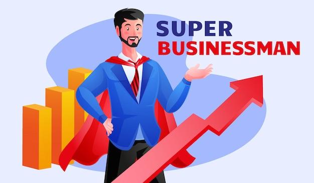 Super uomo d'affari fa una crescita aziendale avanzata
