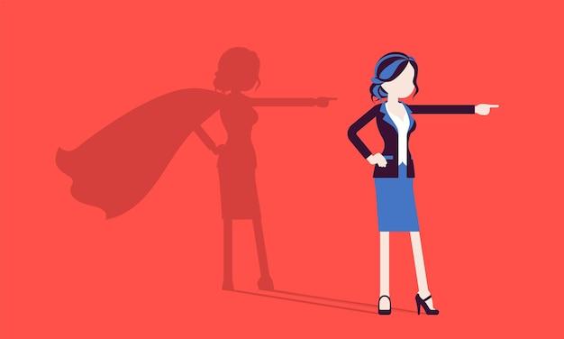 Super donna di affari nella posa dell'eroe. manager donna di successo ammirata per il coraggio, gli eccezionali risultati aziendali, il mantello d'ombra, l'orgoglio, l'autocompiacimento. illustrazione vettoriale, personaggi senza volto