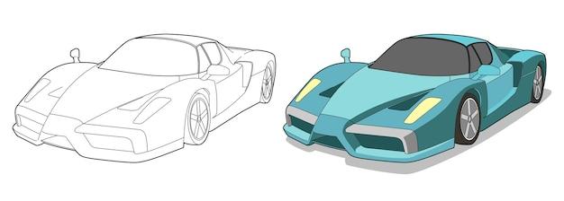 Pagina da colorare di cartoni animati super car per bambini