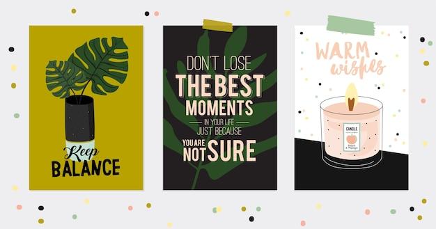 Set super carino di cartoline e poster hygge. illustrazione sveglia elementi hygge autunno e inverno. isolato. tipografia motivazionale di citazioni hygge. stile scandinavo
