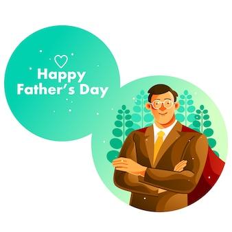 Super papà nell'illustrazione della festa del papà