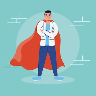 Super dottore con mantello da eroe vs covid19