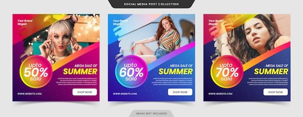 Collezione di banner e web banner di mega moda super vendita social media post.