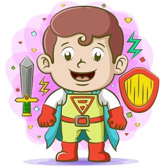 Super padre con il suo miglior costume e usando le scarpe rosse con la spada intorno a lui