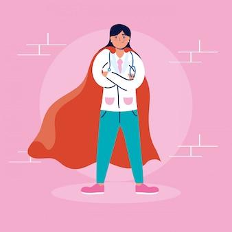 Dottoressa super con mantello da eroe