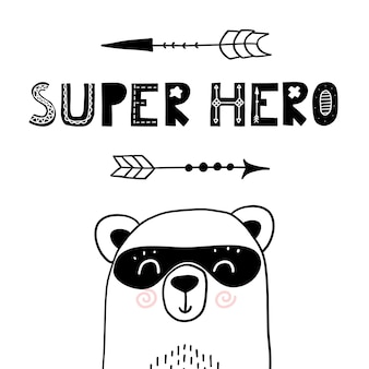 Super eroe orso carino vivaio poster per abbigliamento per bambini divertente stampa disegnata a mano in stile scandinavo