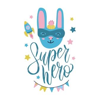 Illustrazione di coniglio supereroe