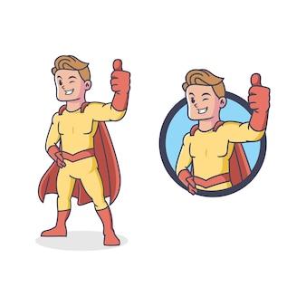 Mascotte retrò super eroe in design piatto