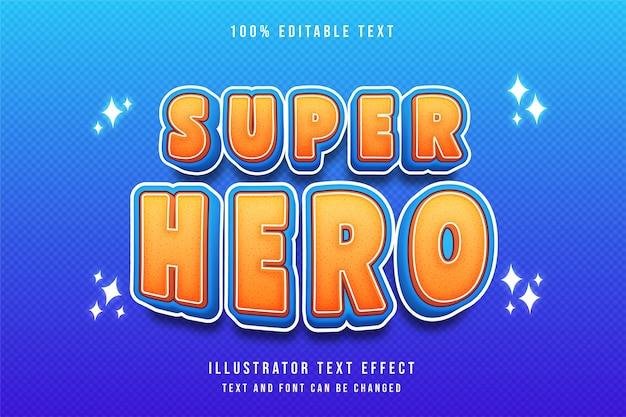 Super hero3d testo modificabile effetto arancione gradazione giallo blu moderno stile fumetto