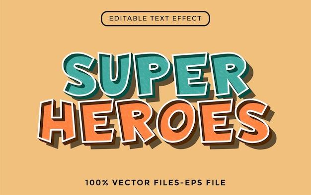 Super heroes - effetto di testo modificabile con illustrator vettore premium