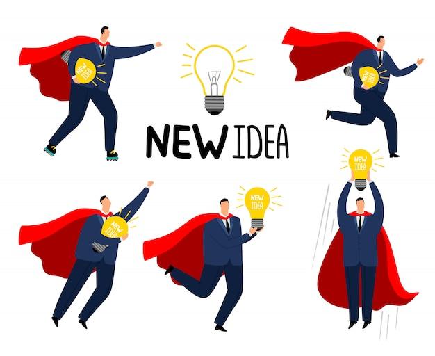 Uomo d'affari super idea. supereroe coraggioso dell'uomo di affari in mantello rosso con la nuova idea, personaggio dei cartoni animati della gestione delle crisi, concetto di successo del mercato di vettore