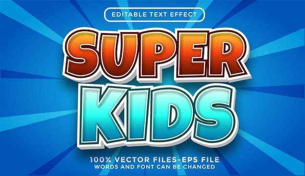 Super kids modificabile effetto testo cartone animato premium vettori