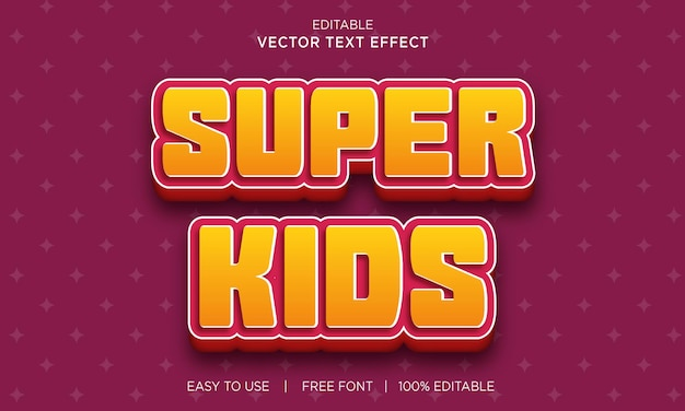Design di effetti di testo modificabile per super bambini con vettore premium