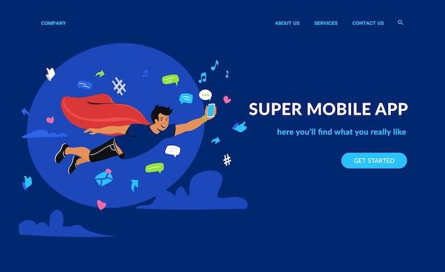 Super app mobile e social network illustrazione vettoriale piatta di un ragazzo volante con smartphone e app