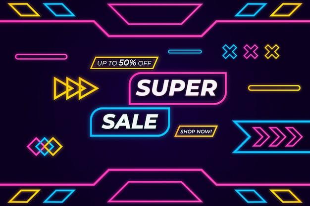 Super sale sfondo glow in the dark memphis style
