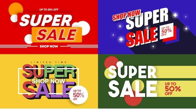 Illustrazione di sfondo super vendita per banner web e volantino online del giorno dello shopping