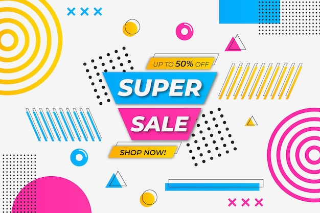 Super vendita sfondo bianco stile memphis