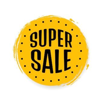 Super vendita, modello di progettazione banner, tag sconto, icona app, illustrazione vettoriale.