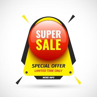 Banner di vendita super. pulsante tondo rosso. illustrazione.