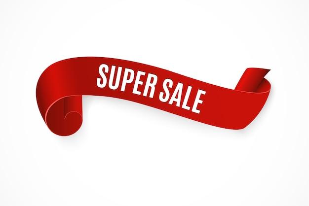 Super sale banner ribbon illustration Vettore Premium
