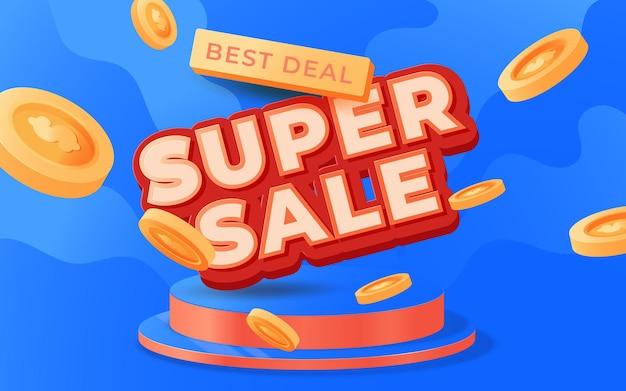 Super vendita banner design templete per promozioni sui media e promo sui social media