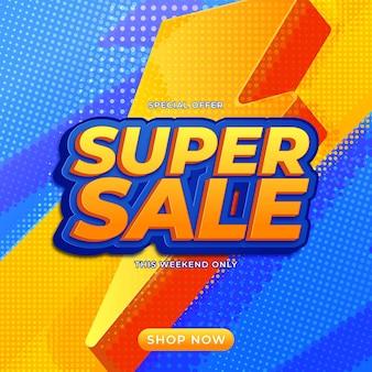Super vendita banner design templete per promozioni sui media