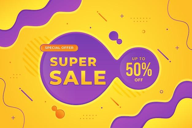 Banner di vendita eccellente con sfondo sfumato astratto liquido
