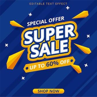 Modello di offerta banner blu super vendita