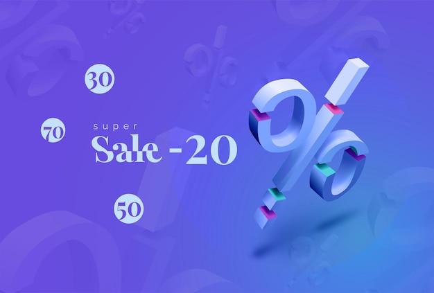 Banner di sconto super vendita su sfondo blu